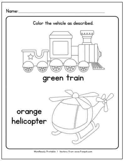 Transportation Themed Coloring Worksheets