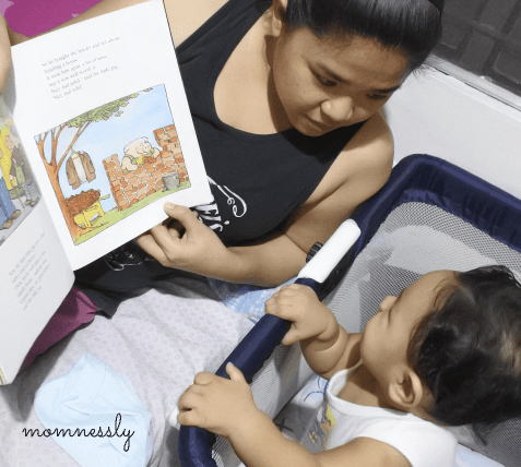 Reading book to a baby