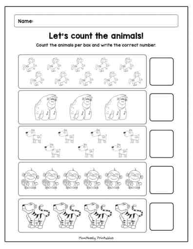 Printable: Count and Match Worksheets