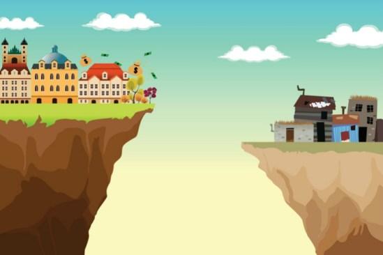 Imagen de dos barrios separados por un abismo, un barrio rico y otro pobre, como muestra de la desigualdad económica que impide el progreso real.