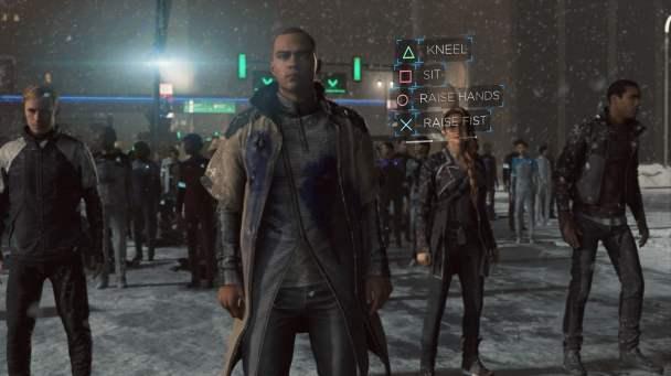 Escena de Marcus liderando una protesta en Detroit: Become Human.