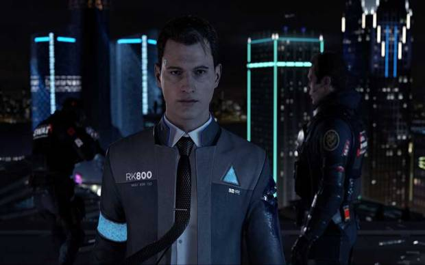 Connor investigando una escena del crimen, en Detroit: Become Human.