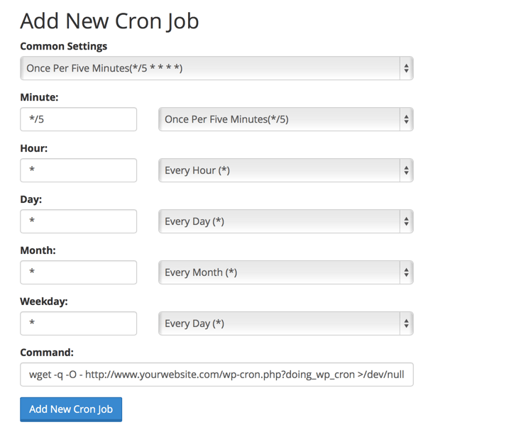 Add New Cron Job