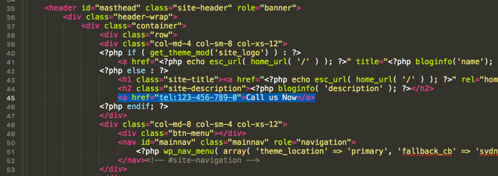 clickable call link in wordpress theme header