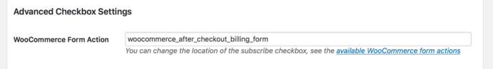 WooCommerce Subscribers form action