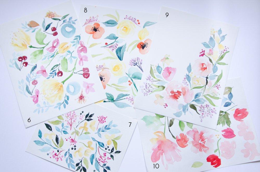 un an aquarelle fleurs watercolors florals-5