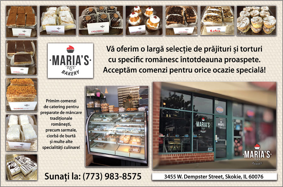 MARIA'S BAKERY – oferă o largă selecție de prăjituri și torturi cu specific românesc!