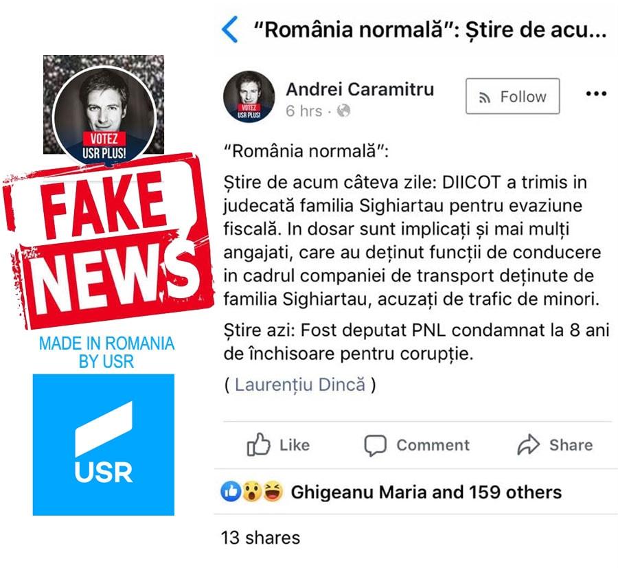 Exemplu de mizerie! – USR specialiști în Fake News