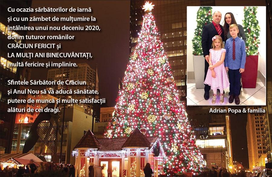 Adrian Popa: Sfintele Sărbători de Crăciun și Anul Nou să vă aducă sănătate