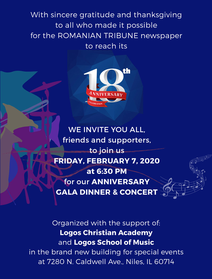 INVITATION: 18th Anniversary Gala Dinner & Concert – Romanian Tribune Newspaper