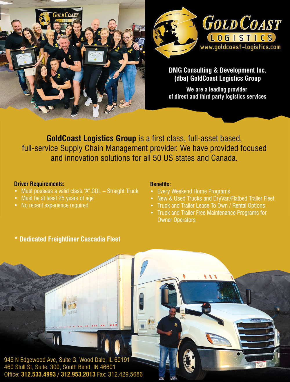 GoldCoast Logistics Inc. – CDL Class A – Drivers Wanted