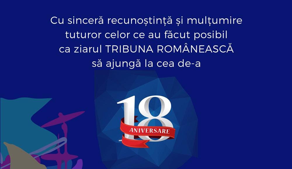INVITATIE: Concert și Cină de Gală Aniversară – Ziarul Tribuna Românească celebrează 18 ani de tipar!