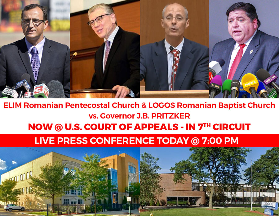 LIVE PRESS CONFERENCE – TODAY @ 7 PM – Pastor Cristian Ionescu of Elim Church vs. Gov. PRITZKER