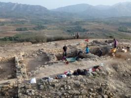 Vista general dels treballs d'excavació des de l'oest a l'assentament ibèric del Coll del Moro de Gandesa (Terra Alta), campanya de 2016