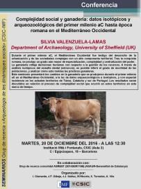 """Cartell de la conferència: """"Complejidad social y ganadería: datos isotópicos y arqueozoológicos del primer milenio aC hasta época romana en el Mediterráneo Occidental"""""""