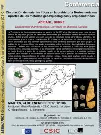 """Pòster de la conferència: """"Circulación de materias líticas en la prehistoria norteamericana. Aportes de los métodos geoarqueológicos y arqueométricos"""""""