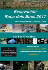 Pòster de l'avís d'inscripció per participar a la campanya d'excavació del jaciment de paleolític mig de la Roca dels Bous (Sant LLorenç de Montgai, La Noguera)