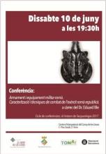 """Cartell de la conferència: """"Armament i equipament militar romà. Caracterització i tècniques de combat del l'exèrcit romà republicà"""""""