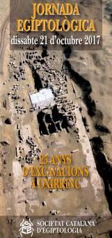 """Portada del programa de la Jornada Egiptològica organitzada per la Societat Catalana d'Egiptologia """"25 anys d'excavacions a Oxirrinc"""""""