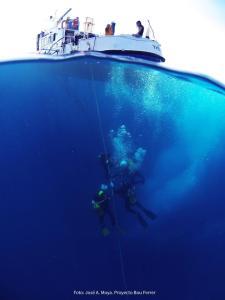 7. Vista del Tethis i immersió durant l'excavació del jaciment de Bou Ferrer. Fotografia: José Antonio Moya. Universitat d'Alacant