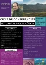 Cartell del cicle de conferències d'actualitat arqueològica als diferents jaciments del municipi de Bellver de Cerdanya, en memòria d'Oriol Mercadal