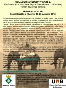 """Cartell del el Col·loqui Arqueopyrenae2 """"Els Pirineus en el marc de la Segona Guerra Púnica (2018-202 ane). Territori de pas i de contacte""""."""