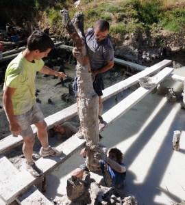 6. Moment d'extracció d'un pal vertical acabat en forma de forca al jaciment neolític de la Draga. Fotografia: Antoni Palomo, equip Draga
