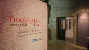 Vista de l'entrada a l'eposició Tragèdia al call. Tàrrega 1348, al Museu Comarcal de l'Urgell Tàrrega