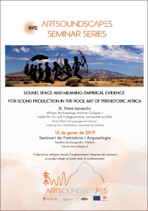 "pòster del ""Sound, space and meaning: empirical evidence for sound production in the rock art of prehistoric Africa"""