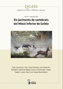 """Portada de la publicació """"Els jaciments de vertebrats del Miocè inferior de Gelida"""""""