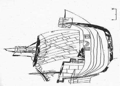 4. Croquis del grafit del vaixell que es troba a la Capella Santa Àgata. Barcelona.