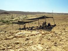 Efe 1. Vista general de l'entorn i sector d'excavació del jaciment de Nahal Efe (Israel). Fotografia: Projecte Nahal Efe i Projecte Kharaysin