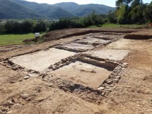 Vista genera de l'ala oest de la vil·la romana de Can Ring. Fotografia: GRAPE