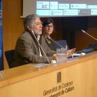 Conferenciant, Alexandra Livarda i moderador, Josep M. Solias de la sessió del 19 de febrer de la Tribuna d'Arqueologia. Fotografia: Toni Martín