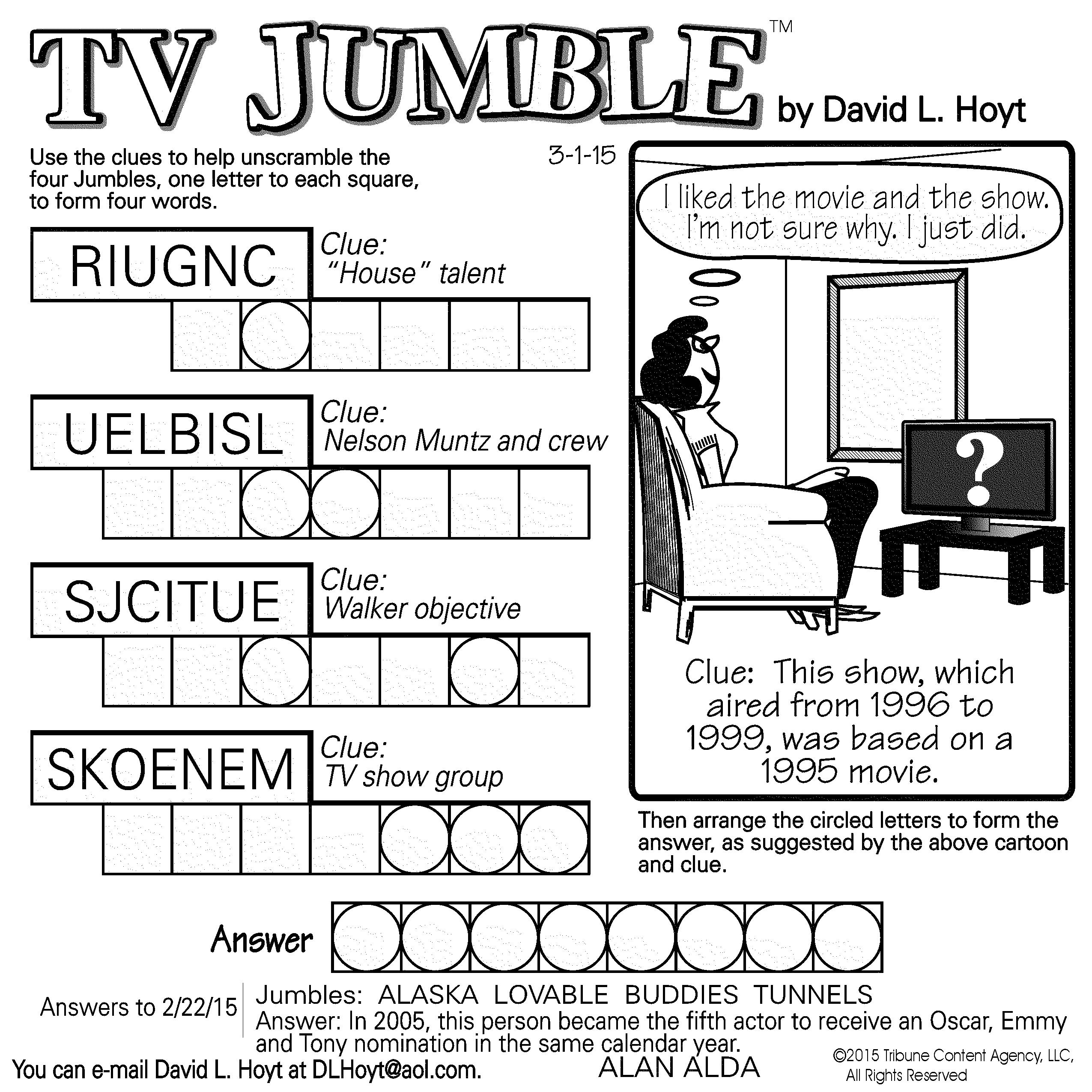 Sample Of Tv Jumble Square