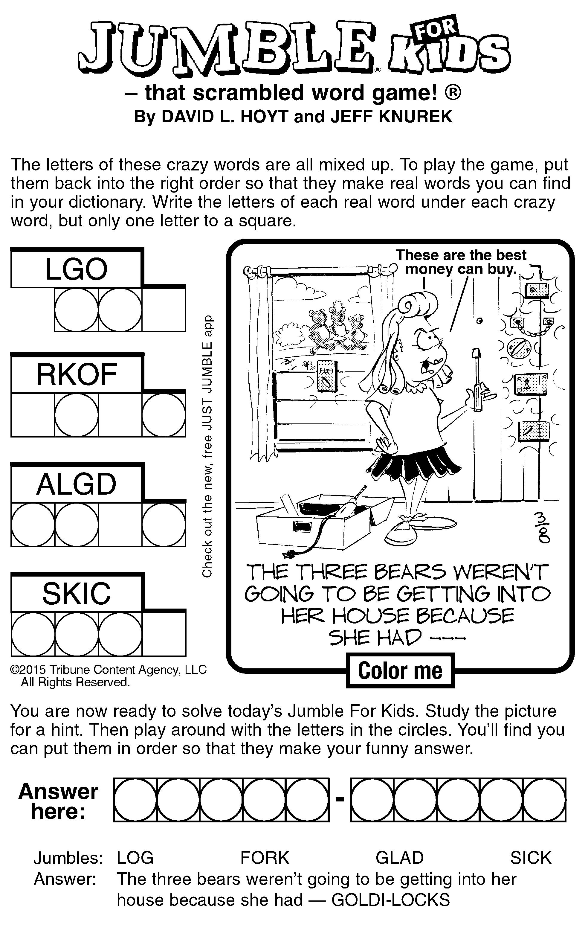 Sample Of Jumble For Kids
