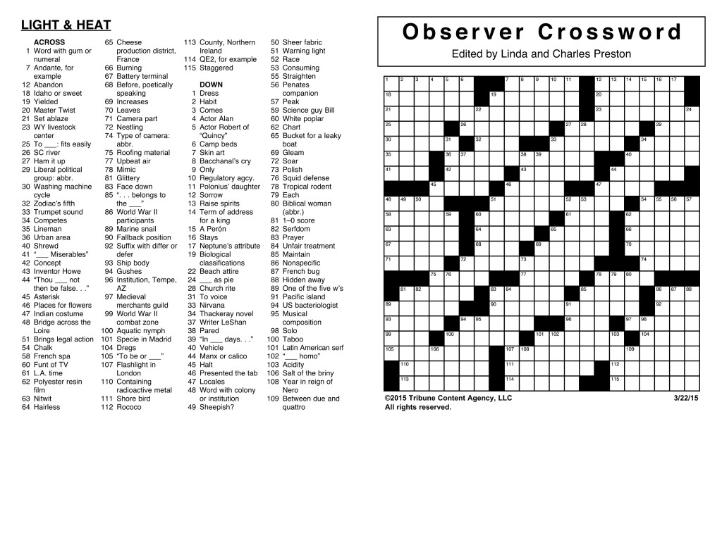Sample Of Horizontal Observer Crossword