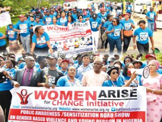 President, Women Arise, Dr Joe Okei-Odumakin (sixth from left); Police Public Relations Officer, Lagos State, Dolapo Badmos (seventh from left) and Nollywood stars, during the Public Awareness/Sensitisation roadshow on Thursday. Photo: Sylvester Okoruwa.  INSET BELOW: From left,  Chief of Staff to the Lagos State Speaker, Mr Wale Jafofo; Honourable Segun Oluade; Nollywood star, Mrs Foluke Daramola; Speaker, Lagos State House of Assembly, Honourable Mudashiru Obasa;  President, Women Arise, Dr Joe Okei-Odumakin and Honourable (Mrs) Adefunmilayo Tejuoso, during the awareness. Photo: Sylvester Okoruwa.