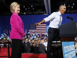 Democrat presidential candidate, Hillary Clinton (left) and President Barack Obama. PHOTO: REUTERS