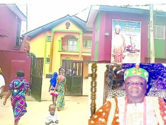 •The palace of the Oniba of Iba. Inset is the royal father, Oba Goriola Oseni.
