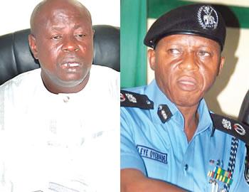 Oyo State NURTW chairman, Alhaji Taofeek Ayorinde a.k.a Fele and Oyo State Police commissioner,  Mr. Leye Oyebade