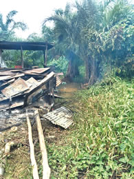 Vandalised home of the militants.