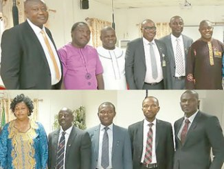 Executive Secretary, Nigerian Christian Pilgrim Commission (NCPC), Reverend Tor Uja (1st right, up), Chairman, Federal Medical Committee Team, Doctor. Joseph Amedu MNI(2nd right, up) with other members of the committee during the inauguration of the NCPC Federal Medical Team for 2016 Christian Pilgrimage at the NCPC corporate headquarters in Abuja.