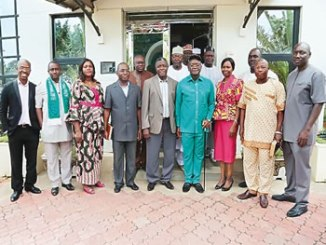 Governor of Benue State, His Excellency, Samuel Ortom (4th left), with the Executive Secretary, Nigerian Christian Pilgrim Commission (NCPC), Reverend Tor Uja (middle) and management staff of NCPC during the Governor's visit to the commission's corporate headquarters in Abuja, recently.