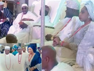 Ooni Ogunwusi, his wife and guests at a function. INSET: The father of Ooni of Ife (center), Prince John Oluropo Ogunwusi, and others at a function.