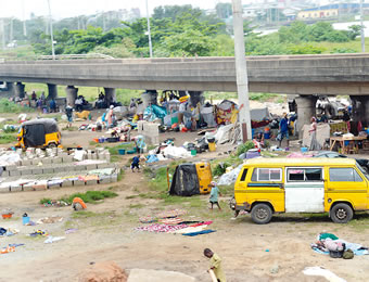 'Tenants' under the Iganmu Bridge.