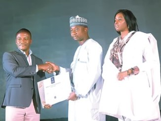 From left: Mr Christopher Ifejika, Installation Director, Africa, General Electric; Mr Mohammed Ibrahim Jega, Director of Business Development, Africa, VoguePay and Kemi Oreola, Chief Executive Officer, Vivacity PR international, during the presentation of the African online payment award to Voguepay at the African Achievers Awards in Abuja, last week.