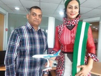 From left, Mr Ramadas Sivaram, Country Manager, Qatar Airways and Mrs Sally Mbanefo, Director - General, NTDC.