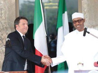 Nigerian President, Muhammadu Buhari (right), in an hand shake with Italian PM, Mr Matteo Renzi.