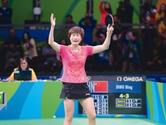 Ding Ning celebrates her victory.